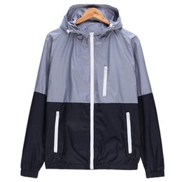 hooded outwear mens UK - Men Spring Thin Windbreaker Jacket Fashion Casual Hooded Zipper Coats Outwear Mens Clothing Veste Homme Plus Size