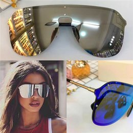 Large sungLasses fashion online shopping - New fashion designer sunglasses large frame without frame connection lens sports motorcycle series eyewear top quality with original box2180
