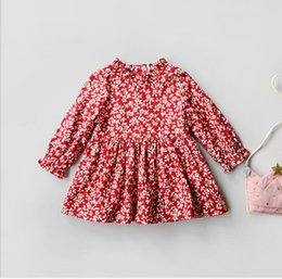 Barato Vestidos De Menina Da Flor Da Flor Dos Miúdos-Little Baby Girls Flower Dresses Toddler Kids Printed Floral Dress Babies Natal Ruffles Dress 2017 Baby Winter Clothes