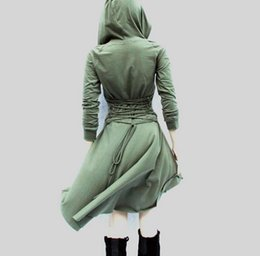 Barato Longo Dia Vestido Xl-2017 Cosplay Long-Sleeves Casual Women's Day Vestidos Hooded High Low Ladies ajustável Lace Up Back Trench Coat Sweatshirt. Frete grátis