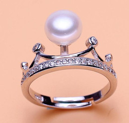 9mm pearl size Canada - Wholesale 8-9mm white pink purple three colors oblate Natural pearl ring 925 silver JZ0076