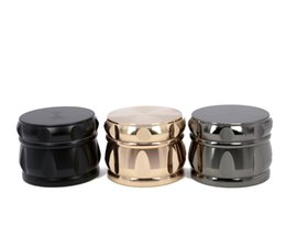 shredder grinder NZ - Zinc Alloy Smoking Tobacco Grinder 63mm 4 layers Hand Crank mixer hand muller shredder black golden Metal Herb Grinder big dry herb crusher