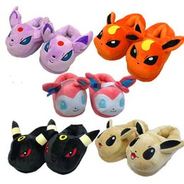 Free Slippers Canada - Free shipping Eevee family plush slippers cartoon puzzle baby Eevee home warm slippers 5 colors free size