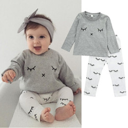 $enCountryForm.capitalKeyWord Canada - Toddler Clothing Set Newborn Baby Boys Girl Boutique Clothes Suit Grey Sport Tracksuit Legging Warmer White Pant Long Sleeve Outfit Playsuit