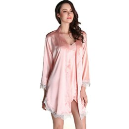 89b2fbdab6 Chinese Wholesale- new 2016 summer style two pieces robe set luxury lace satin  silk nightgown