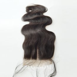 Part Side NZ - Body Wave 100% Virgin Peruvian Hair 3 Part Lace Closures 4x4 Natural Color 8-20 Inch Medium Brown Color Lace Top Closure