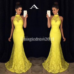 $enCountryForm.capitalKeyWord NZ - Gorgeous Yellow Pink Lace Evening Prom Dresses 2019 Mermaid High Neck Illusion Bodice Elegant Floor Length Gown Formal Girls' Pageant Dress