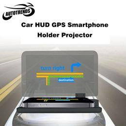 Toptan-araba Evrensel Araba Smartphone GPS Navigator HUD Tutucu Braketi Head Up Ekran iPhone Telefonlar için Montaj Katlanır Tutucu Standı