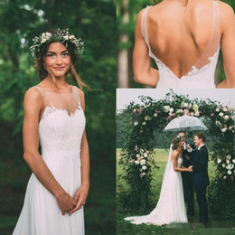 NigeriaN lace weddiNg styles online shopping - Simple A Line Wedding Dresses Scoop Backless Nigerian Lace Styles Bridal Gowns Sweep Train for Plus Size Wedding Dresses DTJ