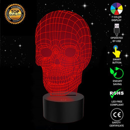 $enCountryForm.capitalKeyWord Canada - Halloween Skull 3D Optical Illusion Lamp 7 Colors Night Lights with Touch Button for Kids Halloween Gifts
