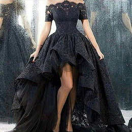 Barato Vestidos De Baile Preto Alto Lo-Black High Low Evening Dress 2017 Ilusão Off the Shoulder Manga Curta Lace Tulle Prom Dresses Olá Low Dress