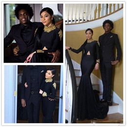 sexy gril dresses UK - Black Long Sleeves Prom Dresses 2k17 High Neck Sequins Gold Lace Applique Mermaid Arabia Party Dress Black Gril Gowns