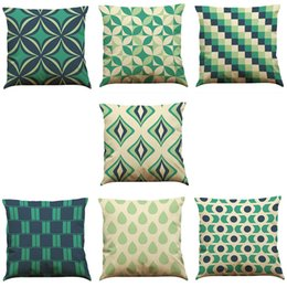 $enCountryForm.capitalKeyWord UK - Novelty Geometry Linen Cushion Cover Home Office Sofa Square Pillow Case Decorative Cushion Covers Pillowcases Without Insert(18*18)