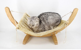hamster beds UK - Pet Wood Breathable Lounger Cat Hammock Bed Removable Soft Dog Basket Suspension Hamster Rabbit Cradle