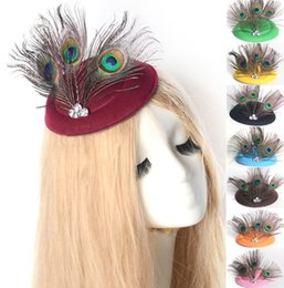 $enCountryForm.capitalKeyWord Canada - 12colors lot Women Handmade Headwear Fascinator Pillbox Hat Hair Clip Feather crystal Ascot Wedding Proms Derby Fancy Dress Party