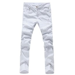 China Wholesale- 2017 fashion solid color men denim trousers slim fit white straight pencil jeans pants 28-36 AYG48 cheap 36 color pencils suppliers