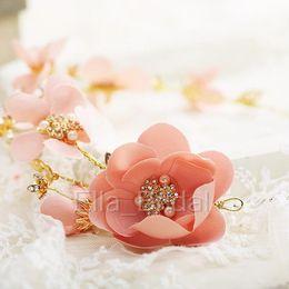 New Peach Pink Bridal Flower Headpiece Alta qualità Bella Handmade Perla perline Hairband Fata Romantica Vivid Hair Accessory