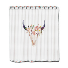 Customs 36 48 60 66 72 80 (W) X 72 (H) Inch Shower Curtain Bull Head Skull  Polyester Fabric Shower Curtain