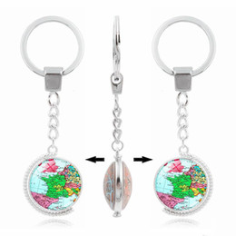 $enCountryForm.capitalKeyWord UK - World Map Europe Map Double Rotation Metal Keyring Rhodium Plated Split Key Rings Findings Keychain Key Rings Gift