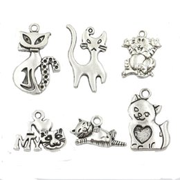 online shopping Mixed Tibetan Silver Plated Cat Charms Pendants for Jewelry Making DIY Handmade Craft styles