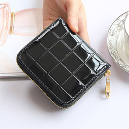 Shiny Women Wallet Canada - Wholesale- Women Short Wallets shiny PU Leather Female Plaid Purses zipper Card Holder Fashion Woman Small Zipper Wallet With Coin Purse