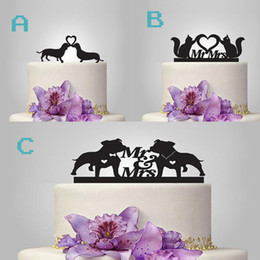 Dog wedding cake toppers dhgate uk pretty bride and groom cat and dog acrylic cake toppers couple wedding romantic cake topper for wedding cake decorative accessories junglespirit Gallery