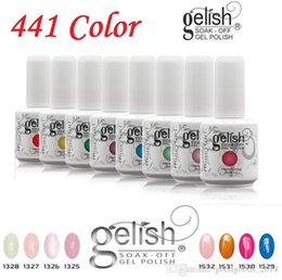 Colores De Uñas De Gel Baratos-Alta calidad Harmony Gelish 441 colores 15ml Gel polaco accesorios de uñas Gel de color UV Soak Off Nail Gel para Fedex b331