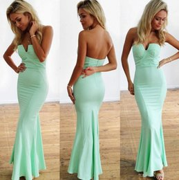 Barato Comprimento Verde Do Assoalho Do Prom-Mermaid Prom Dresses Long 2017 Verde Mint Sweetheart Ruched Chiffon Vestidos de noite Pavimento Length Mermaid vestido para a graduação