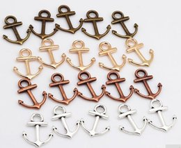 nautical jewelry Australia - 4 Color 300pcs Metal Small Nautical Anchor Charms Antique silver bronze plated gold for Jewelry Making DIY Anchor Pendant Charms 15*19mm