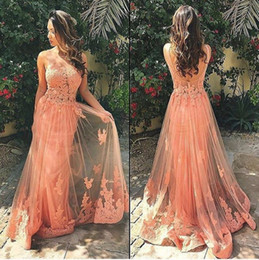 chocolate peaches Australia - Charming 2017 Peach Lace Sheer Neck Backless Prom Dresses Long Sexy Appliqued Sheer Skirt Formal Evenig Party Gowns Custom Made EN81810