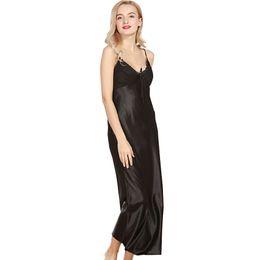 74b9cbd4bc39c0b Оптовая продажа- [Ода к радости]сексуальные женщины ночная рубашка шелковые  пижамы лето без рукавов лодыжки длина платья Lounge сна рубашки твердые  длинное ...