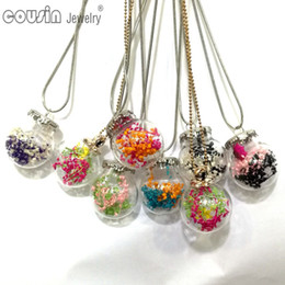 $enCountryForm.capitalKeyWord NZ - DZ0194 New Arrivals 30pcs lot 30styles Glass Bottle dried flower Pendant Snake Chain necklace for Woman Dress Fashion Design jewelry