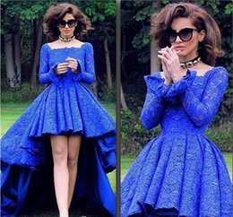 Lacets Colorés À Bas Prix Pas Cher-.Royal Blue Color Square Neck Robe de bal à manches longues High Low Lace Garden Dubai Women Wear Occasion spéciale Cheap Party Dress Plus Size