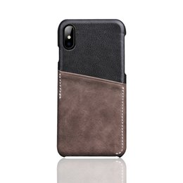 Chinese  Fashion Luxury Splicing Style Back Card Slot Design First layer Cowhide Real Leather Back Cover Phone Case 4.7-5.5 for iPhone X 8 6s 7 plus manufacturers