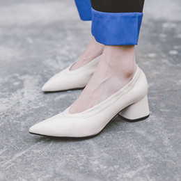 01de5343df6a Sexy Pointed Toe Women High Heels Shoes Genuine Leather Black Beige Yellow  Slip On Ladies Pumps Chunky Heels Chic Shoes Woman 2017 New