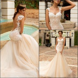Discount sexy beach lace wedding dresses mermaid - Sexy Illusion Back Mermaid Lace Wedding Dresses 2018 Spaghetti Straps Tiers Tulle with Appliques Court Train Beach Style