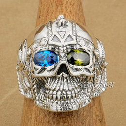 boys sterling silver rings NZ - LINSION Blue + Green CZ Eyes 925 Sterling Silver Gothic Tattoo Skull Mens Boys Biker Rock Punk Ring 9G405 US Size 7 to 15