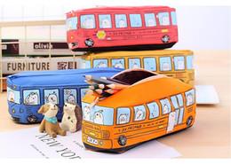 Discount toy school buses - Children Pencil Case Cartoon Bus Car Stationery Bag Cute Animals Canvas Pencil Bags For Boys Girls School Supplies Toys
