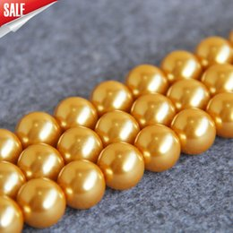 14mm loose pearls Canada - New For Necklace&Bracelet Accessories 14mm Golden Shell pearl beads Seashell DIY gift for women girl loose beads Jewelry 15inch
