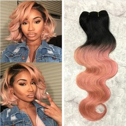 $enCountryForm.capitalKeyWord Canada - Trendiest Color Pink Ombre Brazilian Virgin Hair Weft 3 Pcs Lot 1B Rose Gold Two Tone Ombre Body Wave Human Hair Weave Extensions