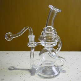 """Bongs For Smoking Canada - Double Recycler Glass Bongs Water Pipes for Smoking 6"""" inch Tall Portable Recycler Dabber Oil Rigs Thick Beaker Bong Glass Hookahs"""