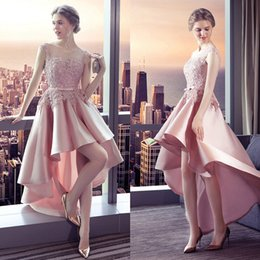 Soirée Pour Les Adolescents Pas Cher-Pink High Low Robes de bal Vestido De Festa 2017 Pretty Graduation Dress For Teens Sexy Backless Lace Applique Evening Evening Party Party