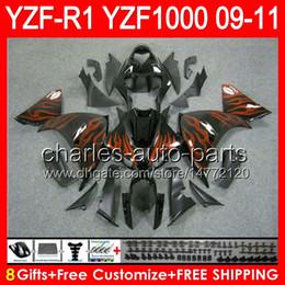 $enCountryForm.capitalKeyWord Canada - 8gifts Body For YAMAHA YZFR1 09 10 11 YZF-R1 09-11 orange flames 95NO66 YZF 1000 YZF R 1 YZF1000 YZF R1 2009 2010 2011 gloss black Fairing