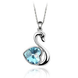 Swan Pendants Canada - Fashion brands cute swan pendant necklace animal jewelry Made with Austrian crystals from Swarovski Elements for women gift 2017