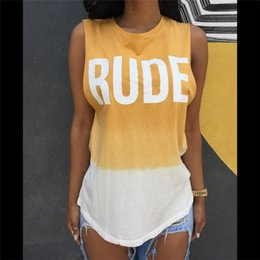 Tee-shirts Blancs Grossiste Femme Pas Cher-Wholesale-S-XL Summer Style Fashion Letter Print RUDE Week-end YELLOWWhite Patchwork Top T-shirt Womens Casual Tank T-shirts XD597
