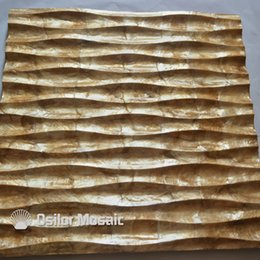 Decorative Wall Tiles For Living Room Canada - natural golden color handcrafted capiz shell tile decorative board for living room decoration or ceiling decoration CS09