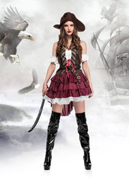 Barato Roupas De Cosplay Piratas-Classic Sexy Women Pirate Costume Vintage Gothic Fancy Dress Halloween Carnival Themed Party Corsair Cosplay Outfits