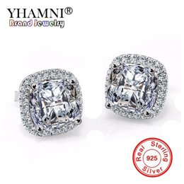 Barato Brincos De Casamento De Luxo-YHAMNI Luxo Original Solid 925 Sterling Silver Earrings For Women Set 2ct CZ Diamante Brincos Wedding Party Fashion Earrings HE001