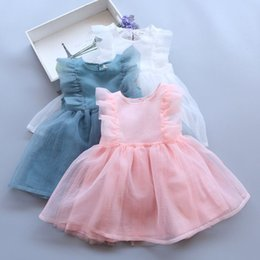 Robes De Dentelle Pour Enfants Pas Cher-New Girls Lace tutu Robes Baby Girls Princess Ruffles Robe Kids Girls Summer Party Dress 2017 vêtements pour enfants