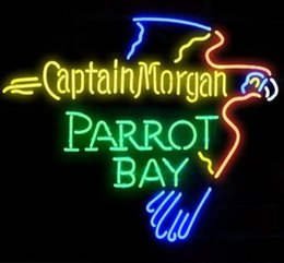 Parrot disPlay online shopping - Captain Morgan Parrot Bay Spiced Rum Neon Sign Beer Bar KTV Store Club Real Glass Advertising Display Art Neon Signs quot X20 quot